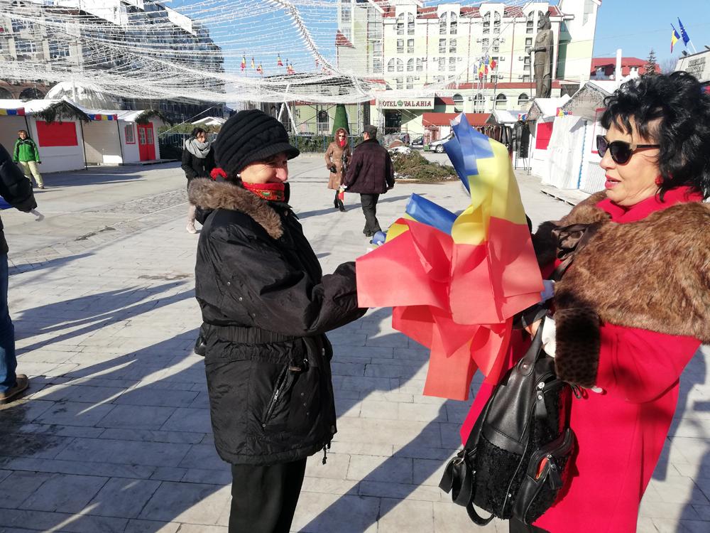 Târgoviştenii  au primit steaguri de la  PNL Târgovişte