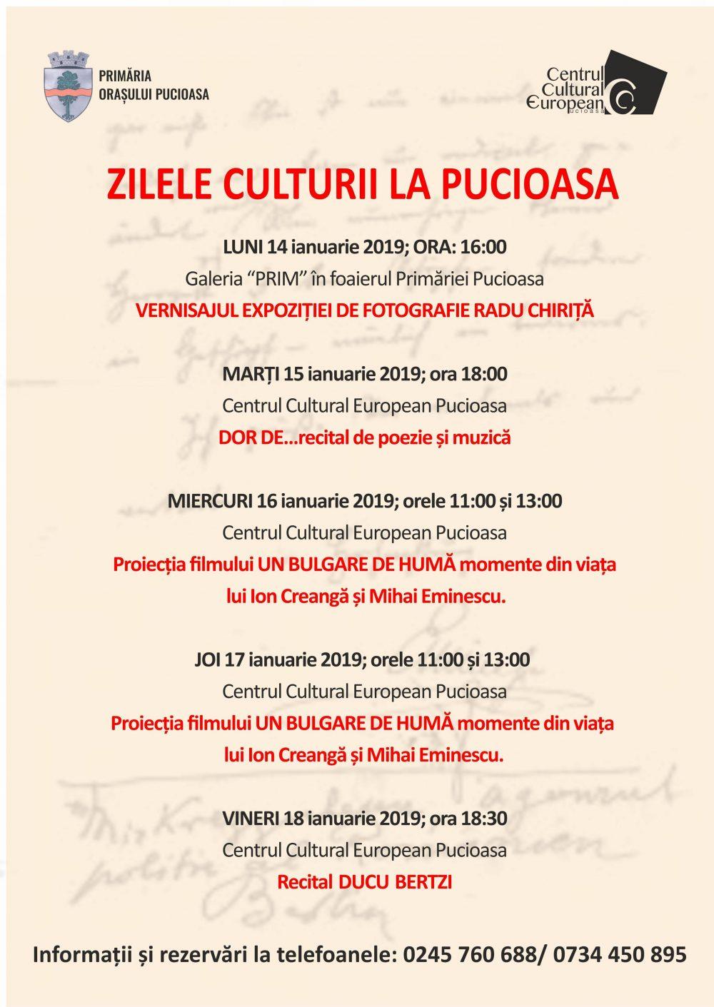 15 ianuarie, Ziua Culturii Naţionale, sărbătorită la Pucioasa