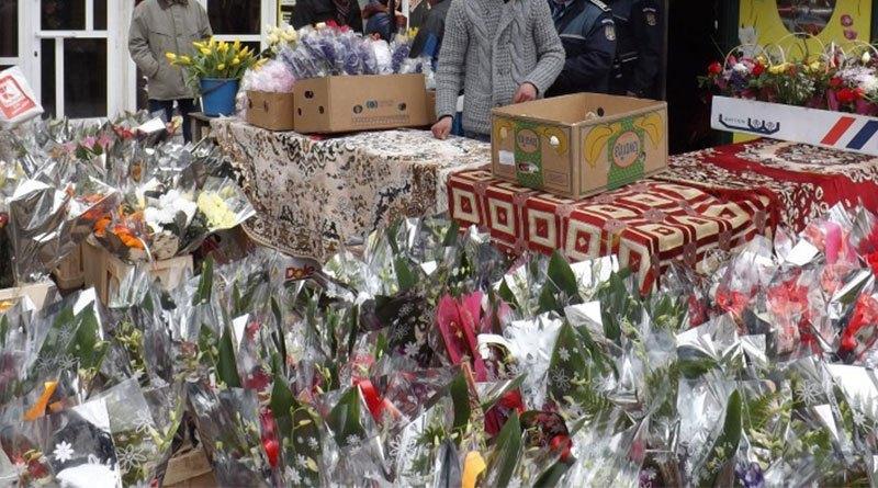 Mii de flori şi mărţişoare, confiscate la Târgovişte