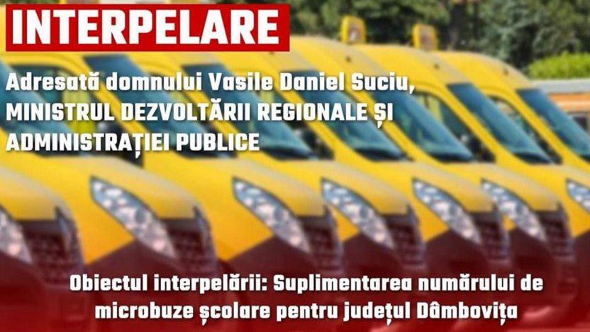 Deputatul  Corneliu Ştefan :  Este nevoie  de  microbuze şcolare în Dâmboviţa ,Ministerul Dezvoltării Regionale şi Administraţiei Publice, trebuie  să ia măsuri urgent