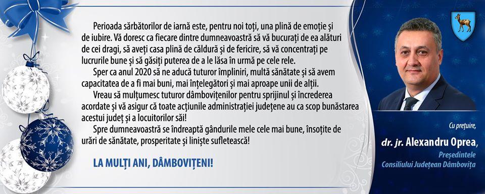 Mesajul președintelui Consiliului Județean Dâmbovița cu ocazia sărbătorilor de iarnă