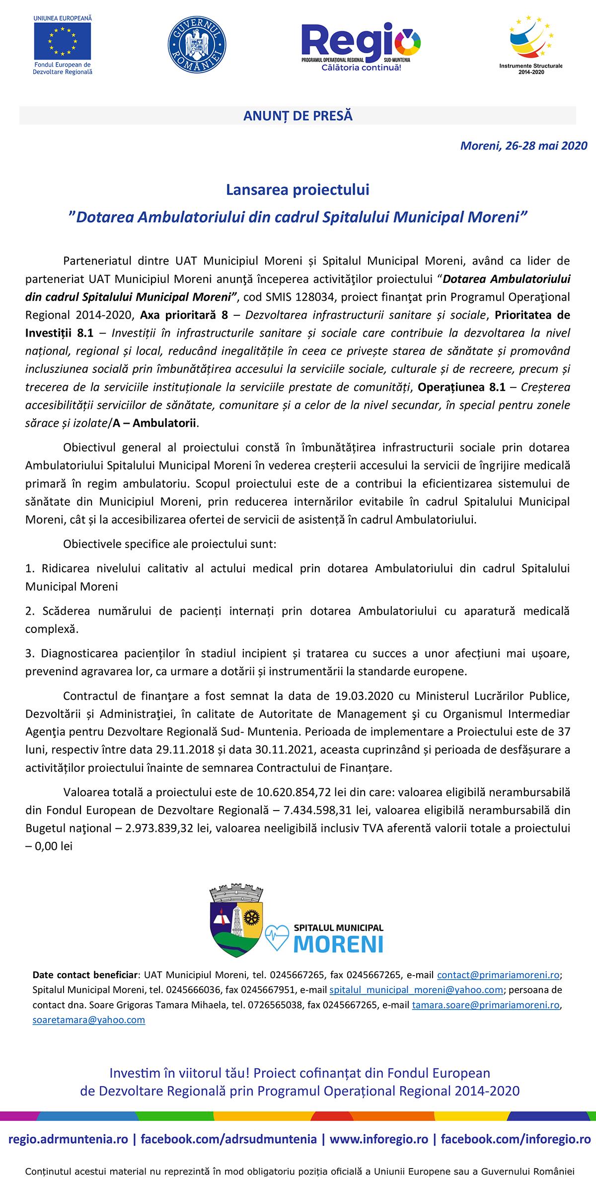 """Lansarea proiectului """"Dotarea Ambulatoriului din cadrul Spitalului Municipal Moreni"""""""