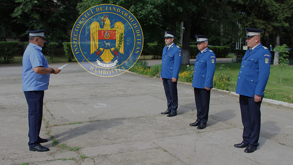 """Trei jandarmi – la încheierea mandatului de onoare în instituția """"Oamenilor de arme"""""""