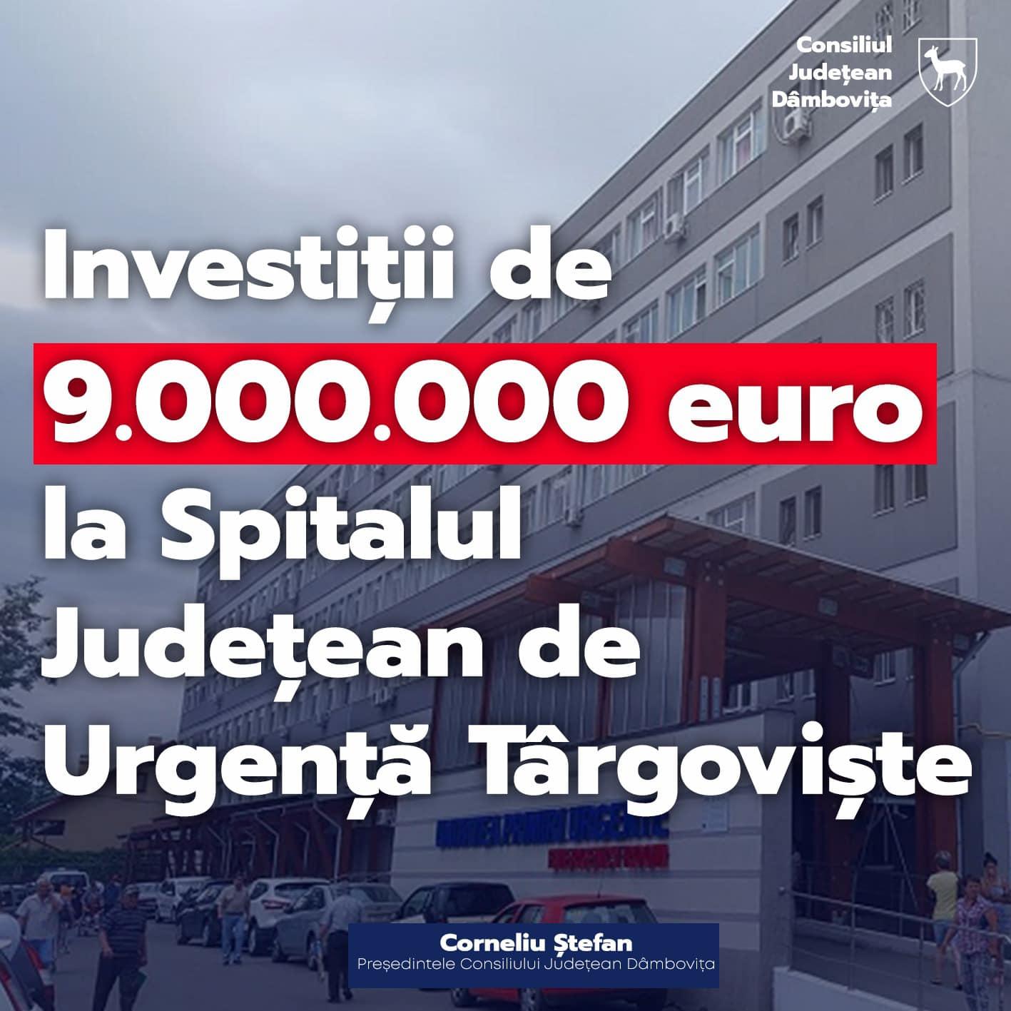 Aproximativ 9 milioane de Euro vor fi atrași de Spitalul Județean de Urgență Târgoviște în cadrul POIM 2014 – 2020