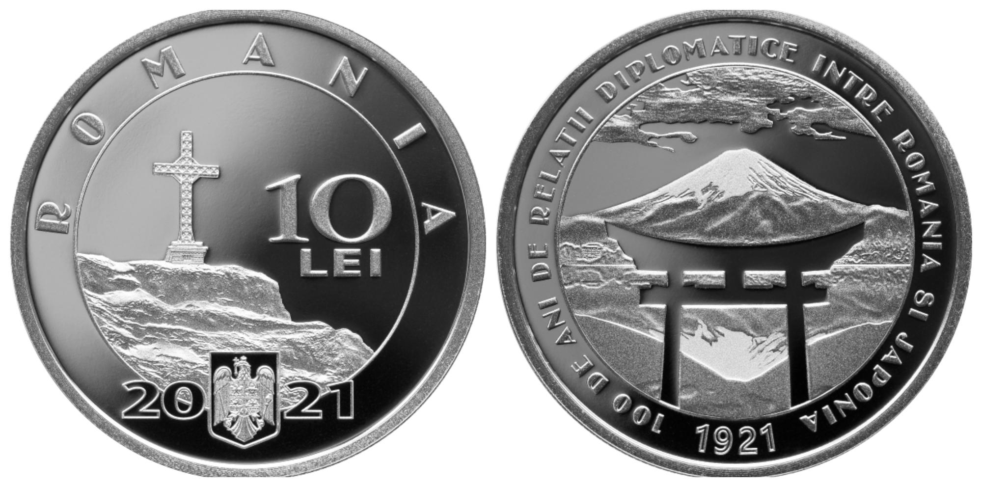 Monedă din argint cu tema 100 de ani de relaţii diplomatice între România şi Japonia