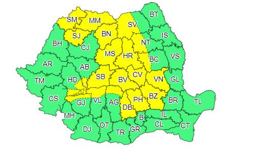 ATENȚIONARE METEOROLOGICĂ: COD GALBEN de furtuni, 03 iulie, ora 10:00 – 03 iulie, ora 23:00